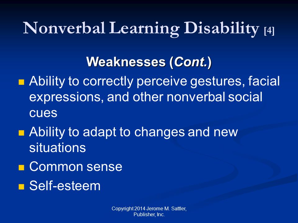 Nonverbal Learning Disability [4]